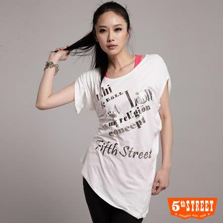 5th STREET 銀箔文字長版T恤-女-白色