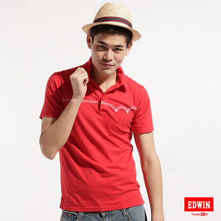 EDWIN 後染W繡線POLO衫-男-紅色