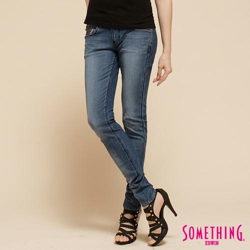 SOMETHING 亮片華麗窄直筒牛仔褲~女~拔洗藍