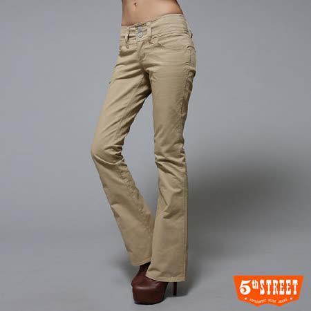 5th STREET 修身哲學-舒適低腰伸縮靴型褲-女款(卡其色)