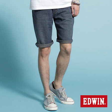 EDWIN 基本準則-復古刷色牛仔短褲-男款(中古藍)