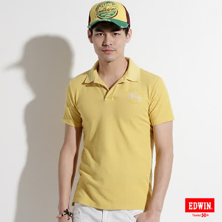 EDWIN 後染基本POLO衫-男-黃色