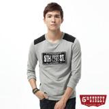 5th STREET 車牌繡花撞色長袖T恤-男-麻灰色
