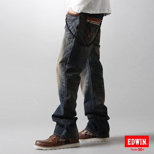 EDWIN XV拉鍊直筒牛仔褲~男~中古藍
