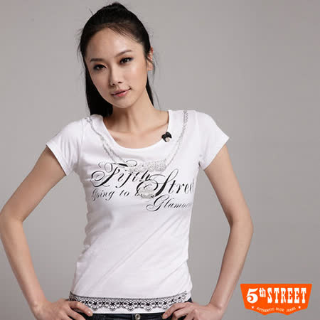 5th STREET 鑽鍊印花T恤-女-白色 M