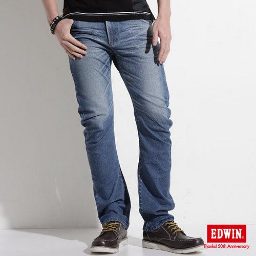 EDWIN E~FUNCTION ZERO中直筒牛仔褲~男~拔淺藍