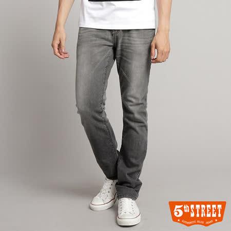 5th STREET 伸縮合身直筒牛仔褲-男-灰色