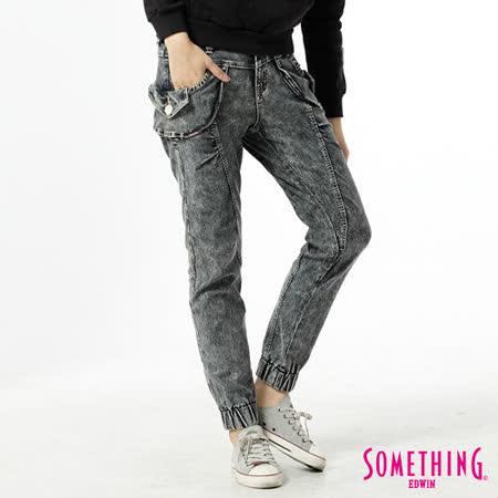 SOMETHING LADIVA束口褲-女-中古藍