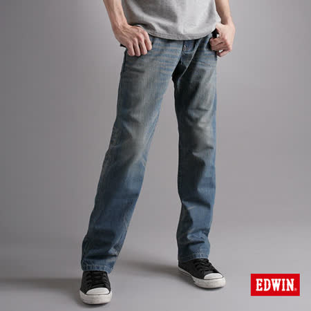 EDWIN 大尺碼 XV直筒牛仔褲-男-漂淺藍