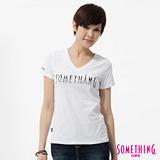 SOMETHING 印花燙鑽V領T恤-女-白色