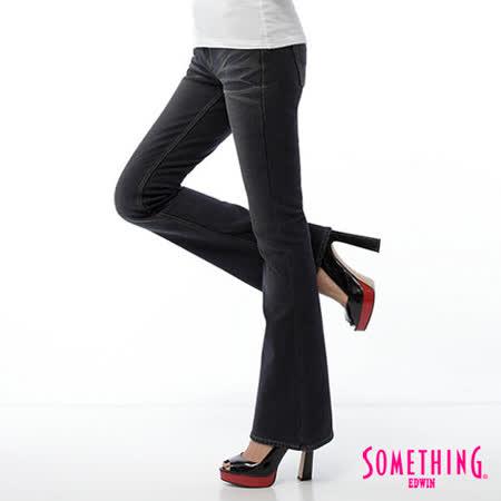 SOMETHING 時尚憧憬-針織磨毛靴型保溫褲-女款(原藍磨)
