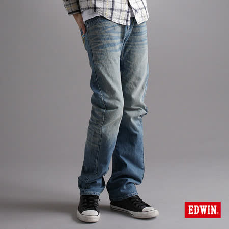 EDWIN XV-3D立體直筒牛仔褲-男-漂淺藍