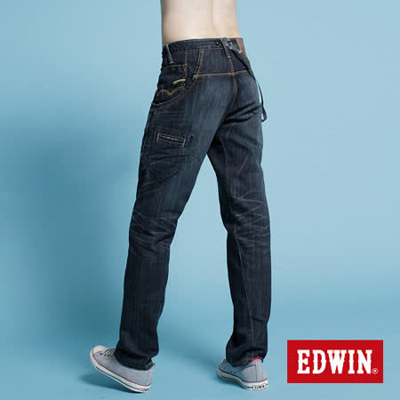 EDWIN EF 3D大口袋直筒牛仔褲-男-拔洗藍