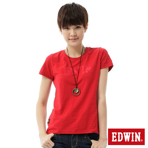 EDWIN 棕梠紋LOGO短袖T恤-女-紅色