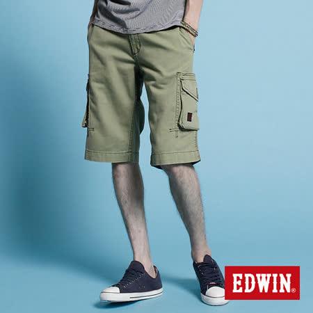 EDWIN KHAKI貼袋馬褲-男-橄欖綠