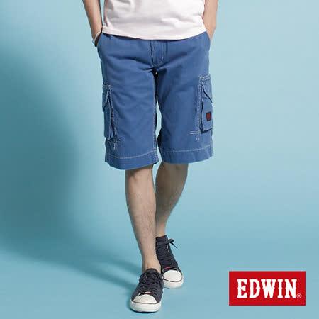 EDWIN KHAKI貼袋馬褲-男-藍色