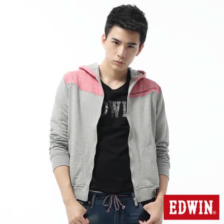 EDWIN 雙色連帽拉T外套-男-麻灰色