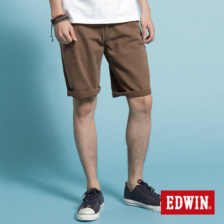 EDWIN 505 KHAKI五分休閒褲-男-深咖啡