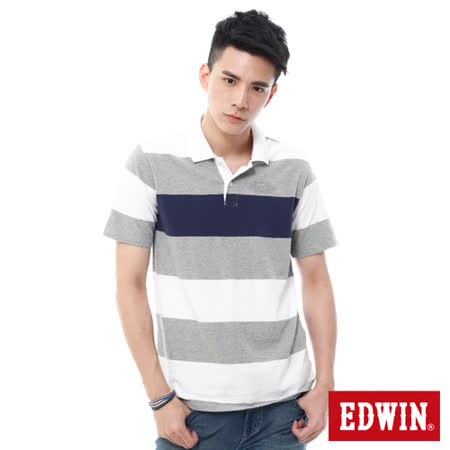 EDWIN 寬條磨毛POLO衫-男-麻灰色