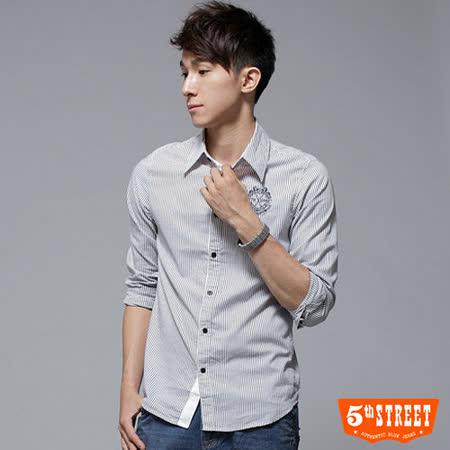 5th STREET 合身條紋襯衫-男-黑灰色 L