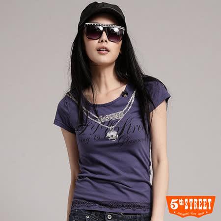 5th STREET 鑽鍊印花短T恤-女-芋紫色