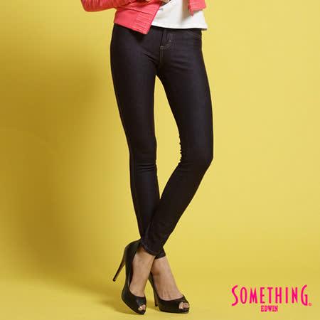 SOMETHING LADIVA合身保溫直筒褲-女-黑藍色