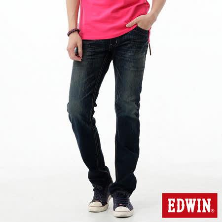 EDWIN 麂皮拉鍊窄管牛仔褲-男-中古藍