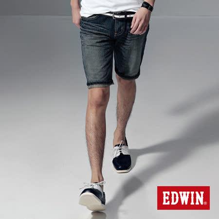 EDWIN XV復古刷色牛仔短褲-男-中古藍