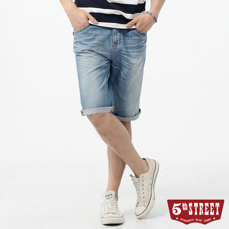 5th STREET 街霸基本牛仔短褲-男-漂淺藍