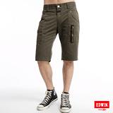 EDWIN B.T 麂皮拉鍊短褲-男-橄欖綠
