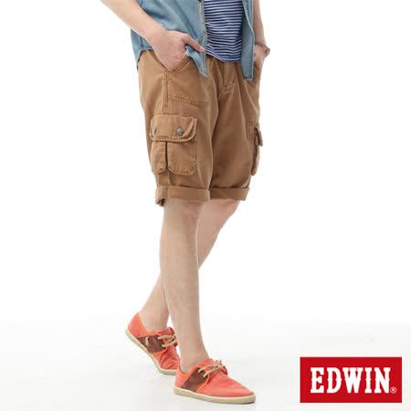 EDWIN B.T不對稱口袋短褲-男-褐色