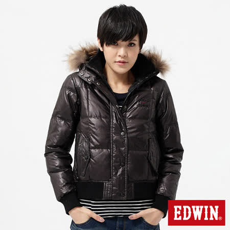 EDWIN 斜紋短版羽絨外套-女-暗紅褐