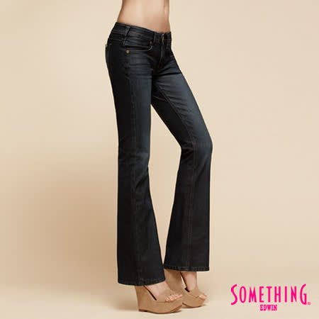 SOMETHING NEO低腰靴型牛仔褲-女-原藍磨