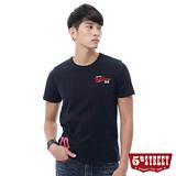 5th STREET 後染繡花短袖T恤-男-丈青