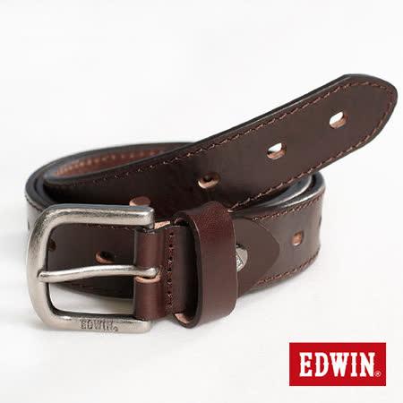 【EDWIN】復古勢力 簡約車線細版皮帶-男款(深咖啡)