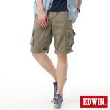 EDWIN B.T不對稱口袋短褲-男-軍綠