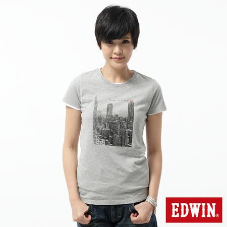 EDWIN 都會街景短袖T恤-女-麻灰