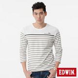EDWIN 配色條紋七分袖T恤-男-白色