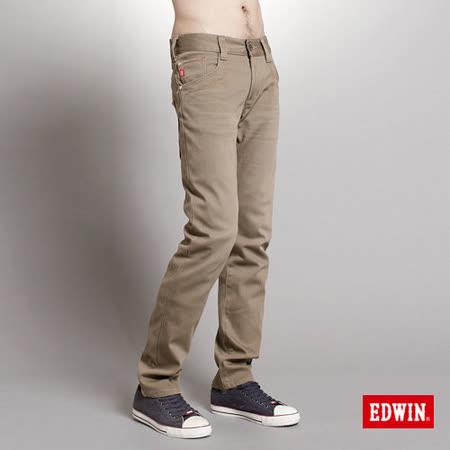 EDWIN 大尺碼 B.T W.F中直筒保溫休閒褲-男-褐色