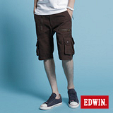 【EDWIN】經典不敗-多口袋剪接馬褲-男款(咖啡)