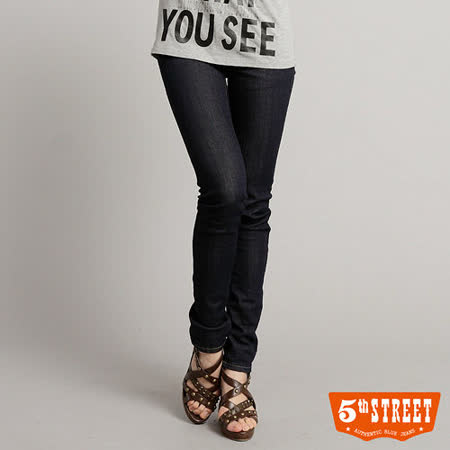 5th STREET 美式合身窄直筒牛仔褲-女-原藍色