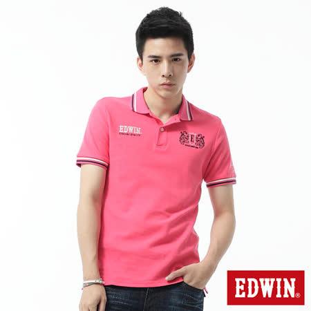 EDWIN 繡花配色POLO衫-男-桃紅色