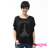 SOMETHING 巴黎隨性寬版T恤-女-黑色