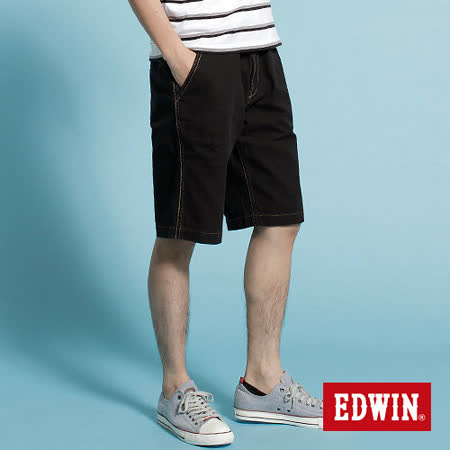 EDWIN KHAKI休閒馬褲-男-黑色