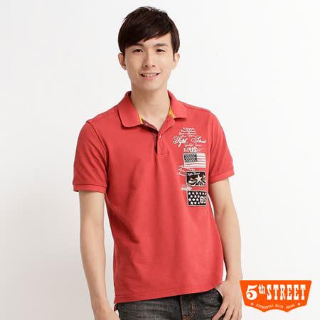 5th STREET 國旗貼布POLO衫-男-紅色
