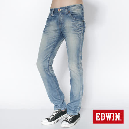 EDWIN 503B.T袋蓋直筒牛仔褲-男-拔淺藍