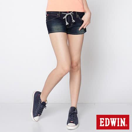 EDWIN 迦績褲JERSEYS牛仔短褲-女-原藍磨
