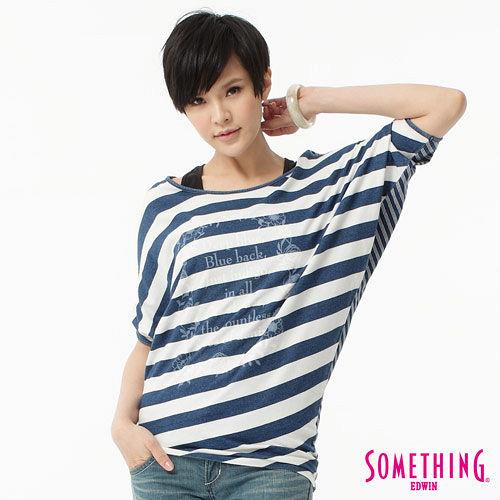 SOMETHING 花圈條紋寬版T恤~女~拔洗藍