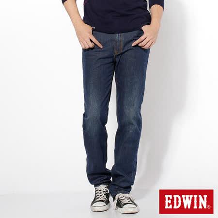 EDWIN 基本五袋高腰中直筒牛仔褲-男-中古藍