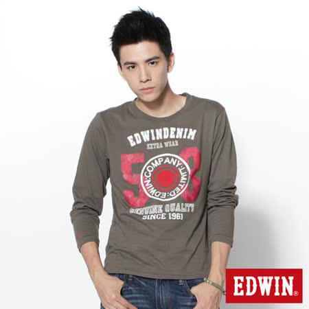 EDWIN 擦色503立釦圖長袖T恤-男-灰綠色
